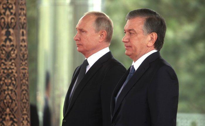 Путин и Мирзиеев на одной из предыдущих встреч.