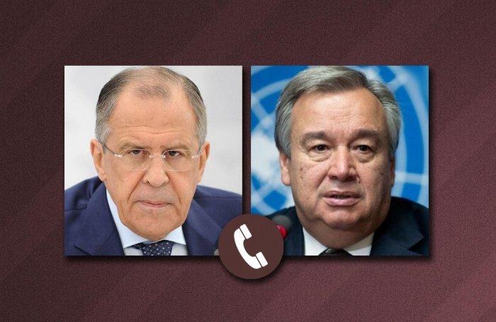 Глава МИД РФ провел телефонные переговоры с генсеком ООН.
