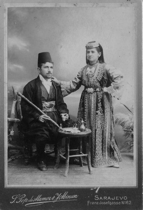 Потомки евреев-сефардов, обосновавшихся в Османской империи. Сараево, 1900 год.