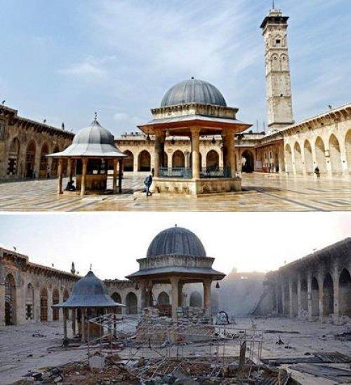 Мечеть Омейядов в Алеппо до и после разрушения
