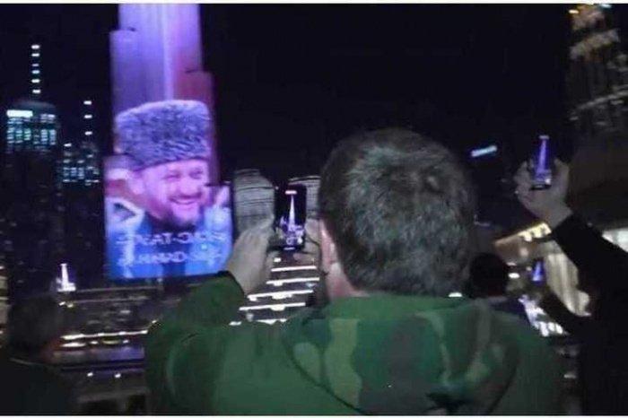 Портрет Кадырова появился на фасаде Бурдж Халифы в Дубае