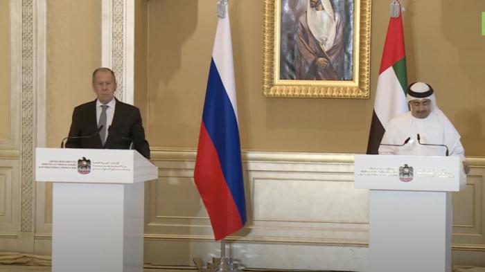 Главы МИД России и ОАЭ на пресс-конференции.