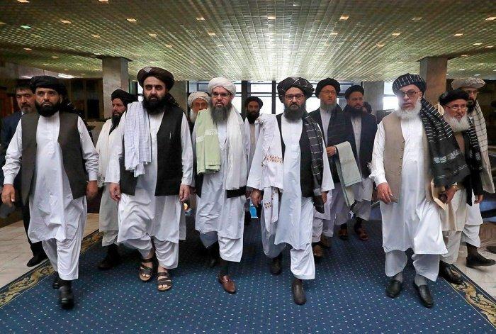 Делегация талибов на мирных переговорах в Катаре.