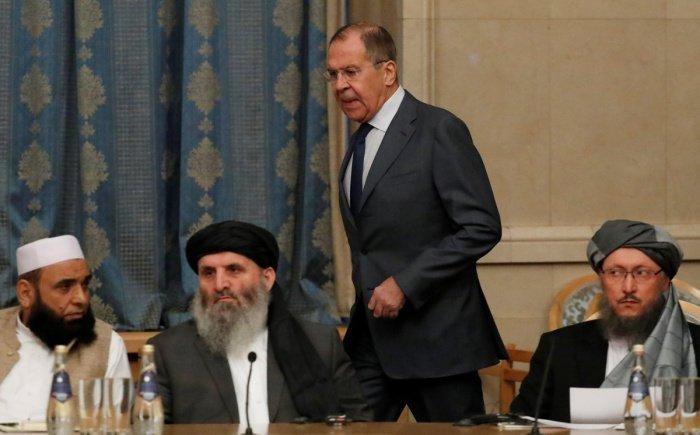 Лавров и талибы на одной из предыдущих встреч в Москве. (Фото: yandex.ru).