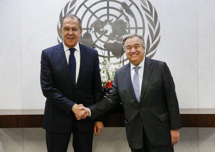 Сергей Лавров и генсек ООН Антониу Гутерриш на одной из предыдущих встреч. (Фото: yandex.ru).