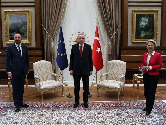 Фото со встречи представителей Евросоюза с президентом Турции в Анкаре (Источник: yandex.ru).