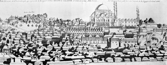Комплекс мечети Сулеймание и Старый дворец. Гравюра Корнелия Лооса 1710 год. Национальный музей Стокгольма