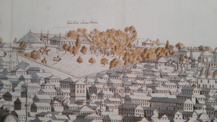 Изображение Старого дворца. Из гравюры Корнелия Лооса, 1710 год