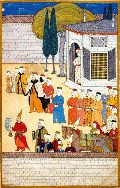 Султан Ахмед III во время посещения Старого дворца. Миниатюра