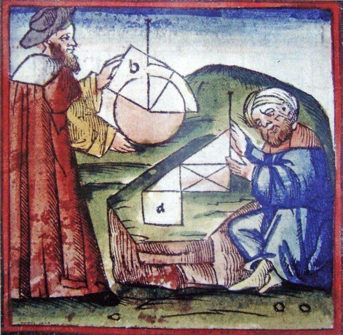Европеец и мусульманин совместно занимаются геометрией. Из рукописной книги XV века.