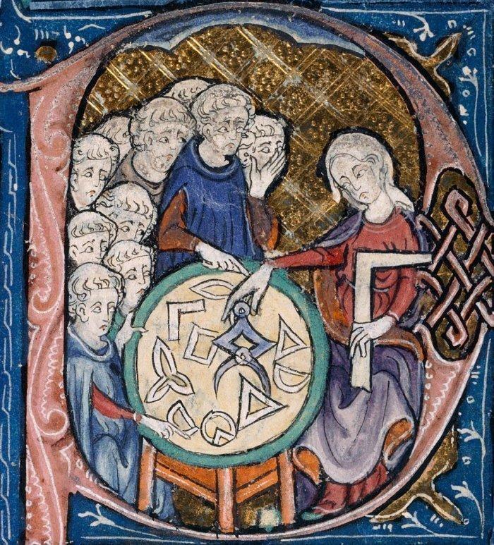 Женщина обучающая геометрии. Из кники «Начал» Евклида в переводе Аделарда на латинский язык.