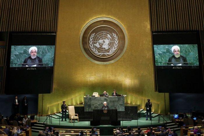 Президент Ирана Хасан Роухани на Генассамблее ООН. (Фото: hngn.com).