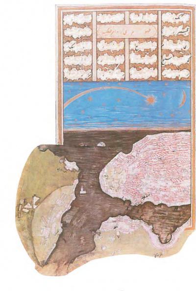 Наблюдение за кометой в Стамбуле в 1577 году и план Стамбула (Источник фото: wikipedia.org).