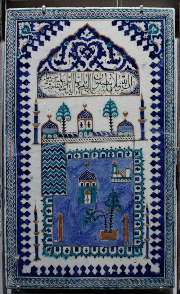 Панно XVII века с изображением мечети Пророка (с.а.с.).
