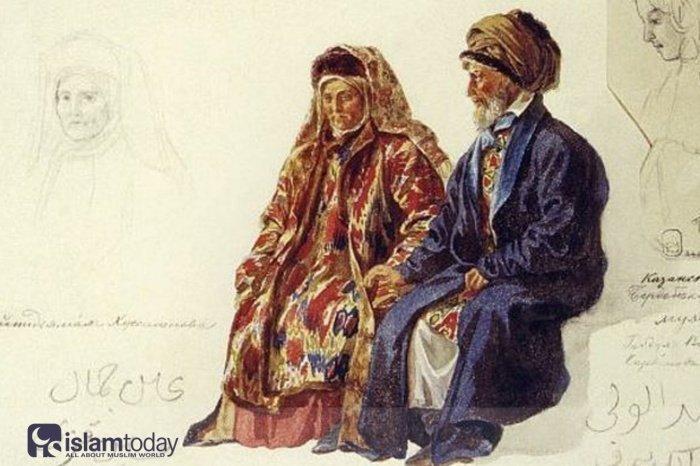 Казанские татары. Мулла с супругой, 1850-е г. Художник Карл Гун. Источник pinterest.com