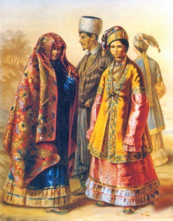 Казанские татары. Цветная литография по рисунку Карла Гуна. 1862 год. Источник tatarica.org