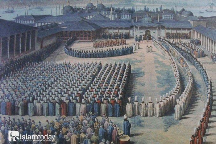 Поздравления после праздничного намаза. Дворец Топкапы, 1800-е годы (Фото: ottomanimperialarchives.com)
