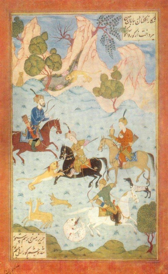 Искандер на охоте. Из книги Низами Гянджеви Искандернаме. Источник wikipedia.org — копия