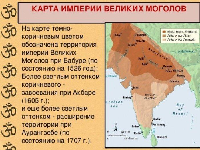 Карта империи Великих Моголов (Фото: zen.yandex.ru).