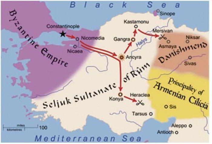 Конийский (Румский) султанат и окружавшие его государства (Фото: ru.wikipedia.org).