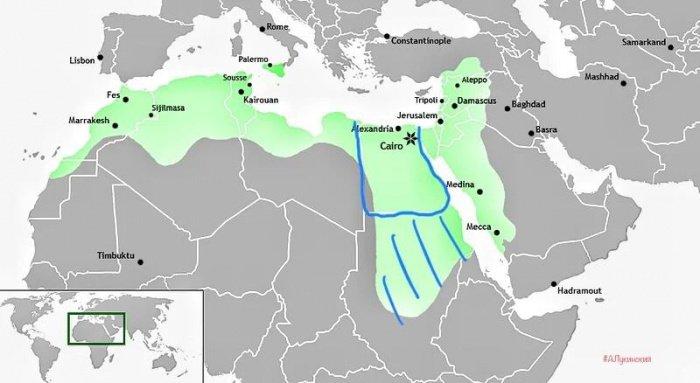 Зеленым обозначен халифат Фатимидов на пике могущества, серым – в XII веке (+вассалы) (Фото: zen.yandex.ru).