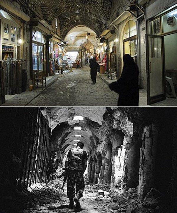Старый рынок в Алеппо. Вверху - фото 2007 года.