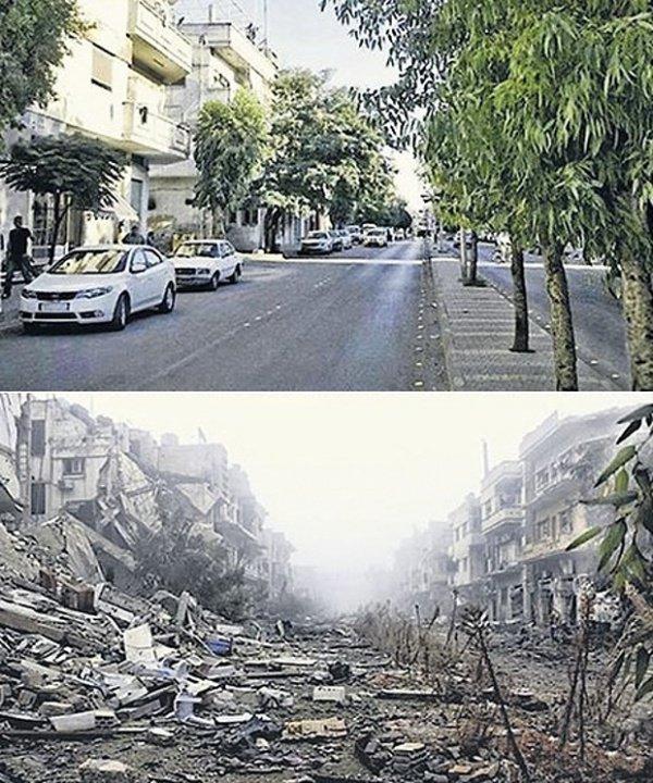 Улица в Хомсе. Фото 2011 (вверху) и 2014 гг.
