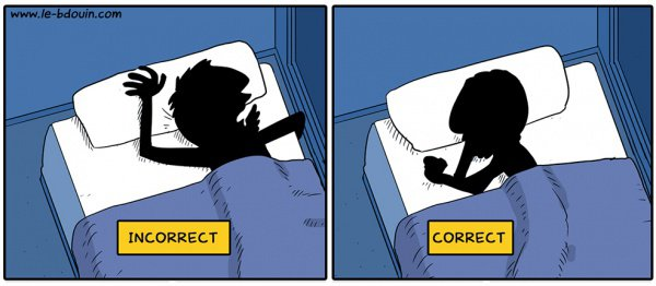 Неправильная и правильная поза для сна