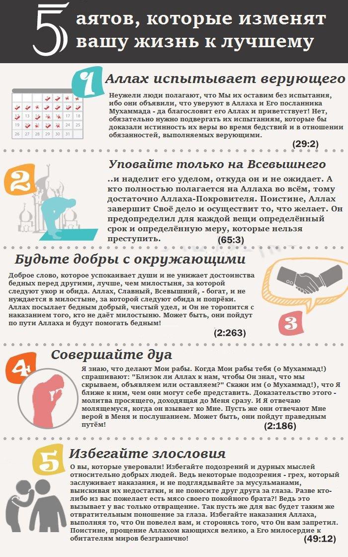 5 аятов, которые изменят вашу жизнь к лучшему (Инфографика)