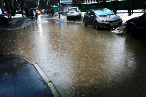 Зимний дождь затопил Москву.