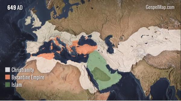 Интерактивная карта распространения ислама и христианства.