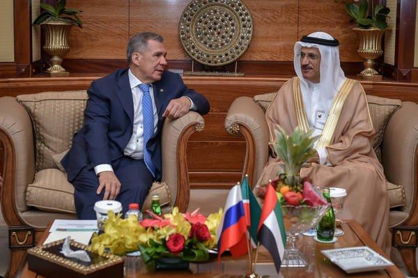 Рустам Минниханов на встрече с министром экономики ОАЭ.