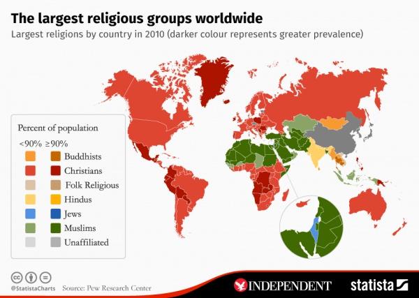 Карта распространенности религий.