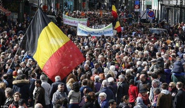 Антитеррористический марш в Брюсселе.