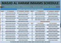 Интересно: расписание имамов мечети Масжид аль-Харам на месяц Рамадан