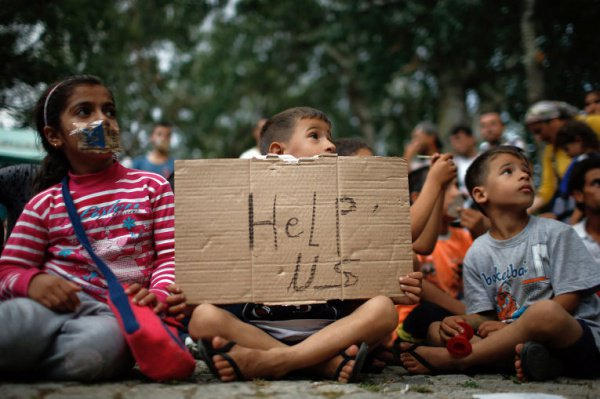 Сирийские дети-беженцы.