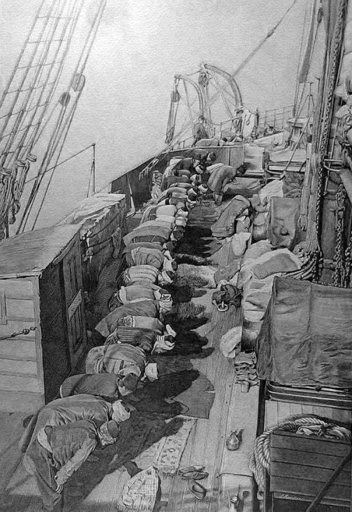Намаз на корабле, плывущем в Мекку. Конец XIX века