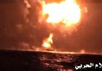 Опубликовано видео уничтожения корабля ОАЭ у берегов Йемена (Видео)