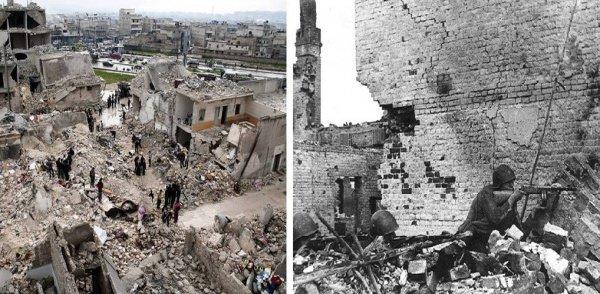 Слева: разрушенный Алеппо. Справа: советские бойцы во время битвы за Сталинград