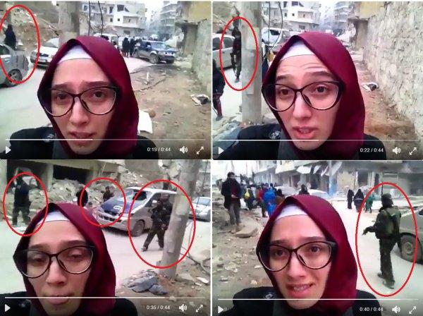"""Кадр из видео Лины Шами, в котором она рассказывает о блокировке мирных жителей в Алеппо. """"Мирные жители"""" отчетливо видны на заднем плане"""