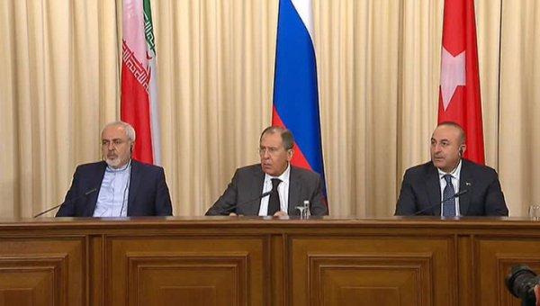 Встреча глав МИД России, Ирана и Турции.