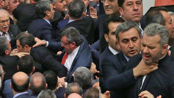 Массовая драка в парламенте Турции.
