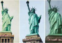 На статуе Свободы появился баннер «Беженцы, добро пожаловать»