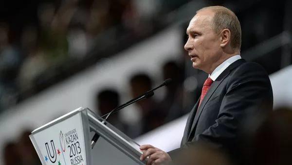 Владимир Путин на открытии Универсиады-2013 в Казани.