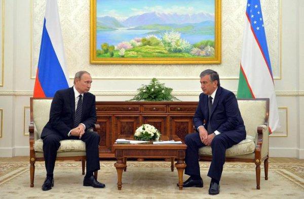 На встрече президентов России и Узбекистана.