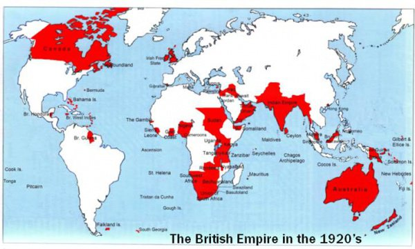 Карта владений Британской империи