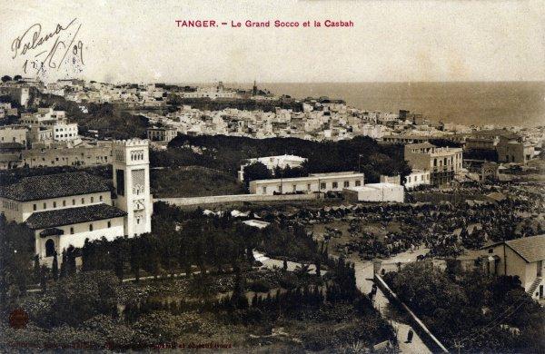Открытка «Город Танжер – главный сук (базар) и Касба (крепостное сооружение внутри старого города)», 1909.