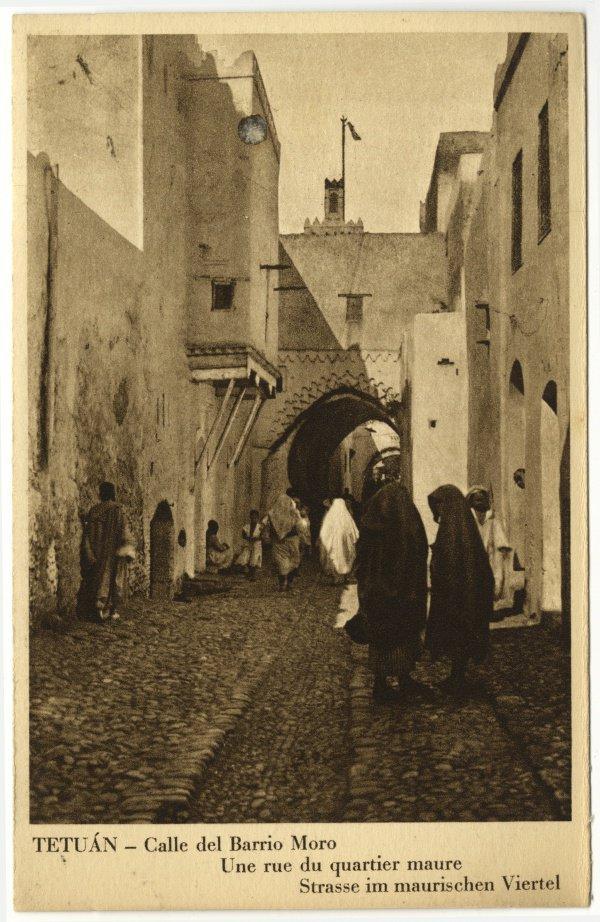 Открытка «Город Тетуан - улица в мусульманском квартале», 1912-1956.