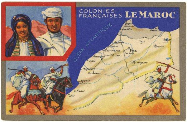Открытка «Французские колонии: Марокко». Сделана вручную, Франция, 1956.