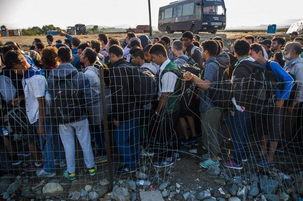 Нелегальные мигранты на границе.